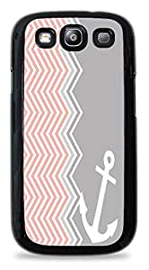 Popular Pink and Grey squiggly Anchor Hardshell Phone Case for Samsung Galaxy S3