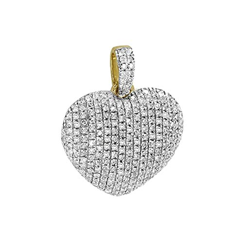 Women's 0.35 Ct Round Cut Natural Diamond Puffed Heart Pendant Necklace 14K Yellow Gold