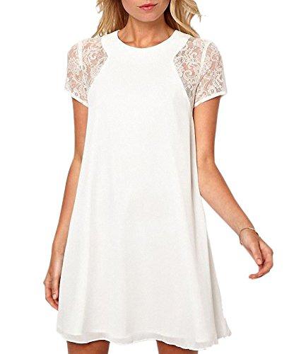 Afibi Women's Short Sleeve Lace Stitching Keyhole Back Shift Dress (Small, White) (White Dress Keyhole Shift)