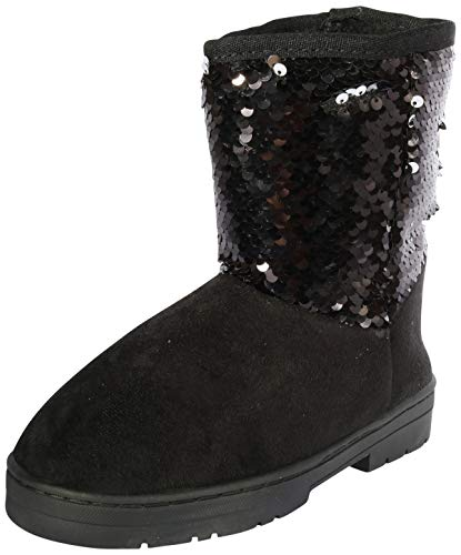 bebe Girls Winter Boots with Side Logo (Toddler/Little Kid/Big Kid) (12 M US Little Kid, Black Sequins)' for $<!--$39.99-->