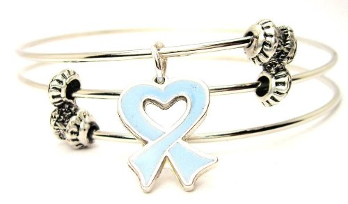 ChubbyChicoCharms Prostate Cancer Heart Shaped Awareness Ribbon Expandable Wire Triple Style Bangle Bracelet, (Prostate Cancer Symbol)