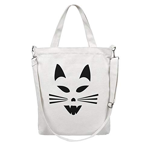 Scary Cat Face Halloween Fashion Craft Shopping Bags Very Durable Canvas Lunch Bags 32 x38cm 12.5 x 15 Inchs Tote Body Handbag ()
