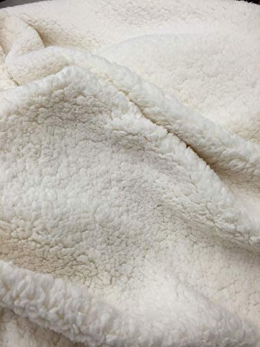 Ivory Cuddle Minky Sherpa Fleece,Lamb Wool Design Fabric.Sold by The Yard. (Cuddle Fleece Fabric)