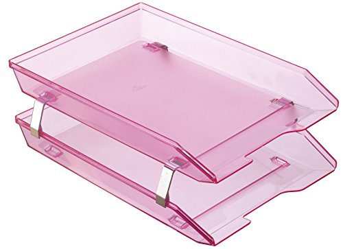 Acrimet Facility 2 Tier Letter Tray Frontal Plastic Desktop File Organizer (Clear Pink Color)