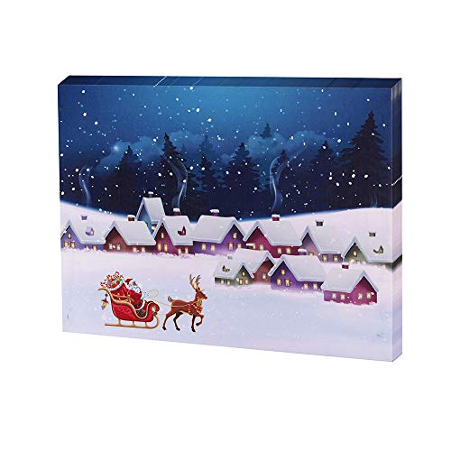 - Smarten Arts Lighted Christmas Santa Elk Wall Art Canvas Print Winter Scene with LED Lights 12x16 inch