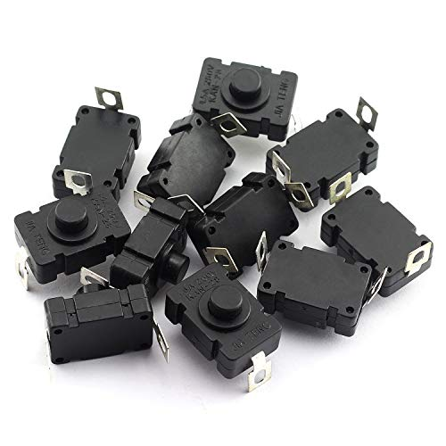 RuiLing 10pcs Self-Lock Push Button Switch KAN-28 for Flashlight SMD Type ON-Off Mini Switch (Bent Pin with Hole) ()