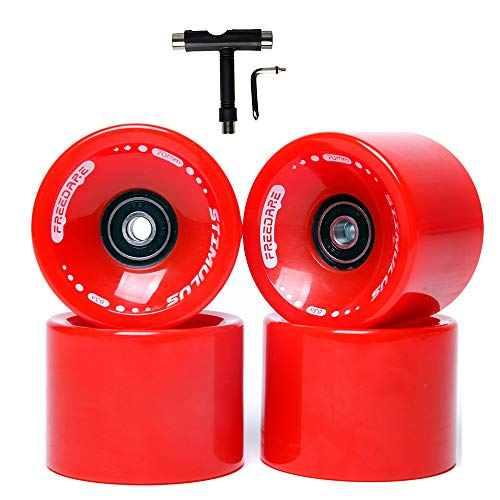 FREEDARE Skateboard Wheels,Longboard Wheels for 60mm&70mm,4pcs Specific Pattern ABEC-7 Bearings and Spacers Cruiser Wheels with Skate Tool