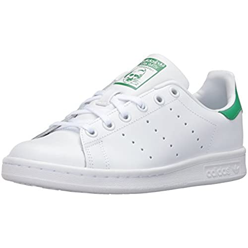 adidas Originals Boys' Stan Smith J Shoe, White/White/Green, 5 Medium US  Big Kid