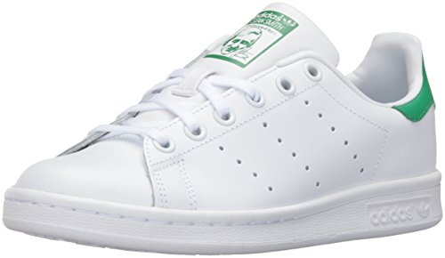 adidas Originals Boys' Stan Smith J Skate Shoe, White/White/Green, 5.5 Medium US Big Kid