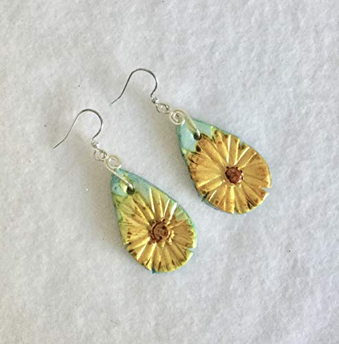 (Yellow and Brown Daisy Teal Large Earrings Handcrafted Polymer Clay Silver Wire Hanger Silver French Hooks Lightweight)