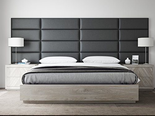 VANT Upholstered Headboards - Accent Wall Panels - Packs Of 4 - Vitage Leather Black Coal - 39