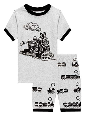 Family Feeling Kid Boys Train Pajamas Short Sets 100% Cotton Grey 18-24]()