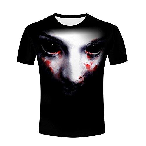 ZeShan Men Summer T-Shirts Halloween Terror Mask 3d Print Monster sculpture Casual Polyester Tops (Donald Duck Halloween Mask)