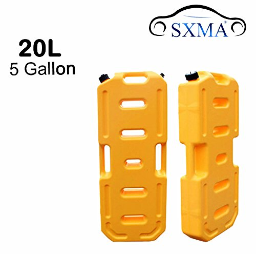 SXMA Fuel Tank Cans Spare 5 Gallon Portable Fuel Oil Petrol Diesel Storage Gas Tank Emergency Backup for Jeep JK Wrangler SUV ATV Car Motorcyc Toyota ect Most Cars (Pack of 1) (Yellow)