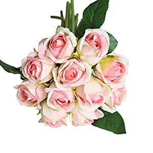 MARJON FlowersArtificial Roses Bridal Wedding Party Home Decor Bouquet Fake Real Touch Silk Flower Bunch Artificial Flowers 11 Heads (Pink) 110