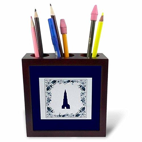 3dRose Kultjers Fun - Delft Blue Tile Church - 5 inch Tile Pen Holder (ph_282734_1) by 3dRose