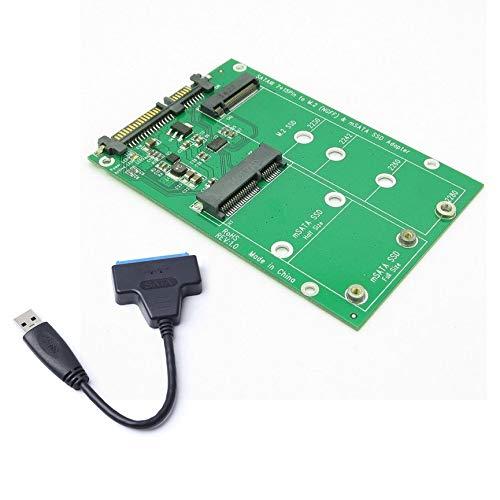 Peanutaoc Disco Duro USB 3.0 7 + 15 Pines a mSATA y NGFF M.2 SSD 2 ...