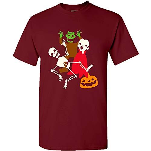 UGP Campus Apparel Monster Mash - Halloween Dance Party Skeleton Vampire Monster T Shirt - X-Large - Garnet -