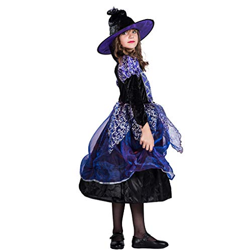 DENTRUN Halloween Costumes for Girl Witch Dress Cosplay Includes Dress, -