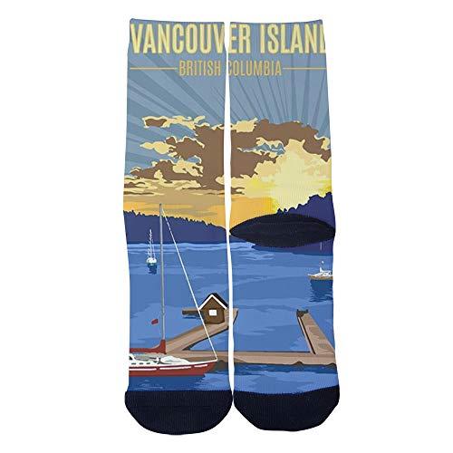 (Men's Women's Custom Vancouver Island British Columbia Poster Socks 3D Print Novel Creative Casual Crew Socks)