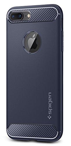 Spigen Rugged Armor iPhone 8 Plus/iPhone 7 Plus Case Resilient Shock Absorption Carbon Fiber Design for Apple iPhone 8 Plus (2017)/iPhone 7 Plus (2016) - Midnight Blue
