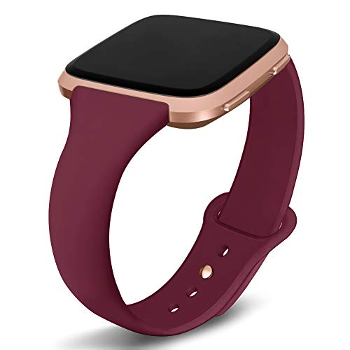 Kmasic Compatible Fitbit Versa Bands, Narrow Slim Soft Silicone Small Replacement Wristband for Fitbit Versa/Versa Lite Edition Women Men (Wine Red with Rose Gold Button, Small)