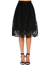 Women's Floral Printed Lace A-Line Street Party Midi Long...