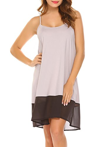 FANEO Women Sexy Sleeveless Silk Nightgown Chemise Chiffon Halter Short Dress Grey Large