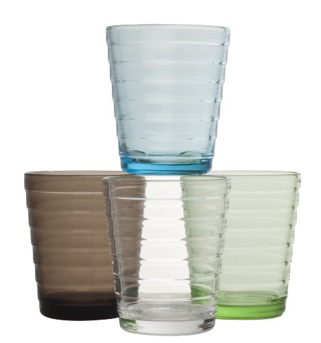 Iittala Aino Aalto Set of Four 7-1/4-Ounce Tumblers, One Each in Clear, Apple Green, Light Blue, Sand