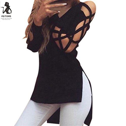 (Taore Fashion Women Shirts Tops Casual Club Sexy Hollow Sleeve Deep V-Neck Shirt Blouse (XXL, Black))