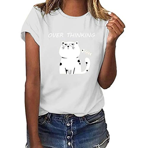 Amlaiworld Women Girls Plus Size Tee Tops Cute Pattern Print Short Sleeved T-Shirt Blouse Tops Summer Party Shirt Activewear White