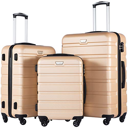 Coolife Luggage 3 Piece Set Suitcase Spinner Hardshell Lightweight TSA Lock (Champagne ()