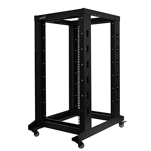 (NavePoint 22U Professional 4-Post IT Open Frame Server Network Relay Rack 800mm Casters Black)