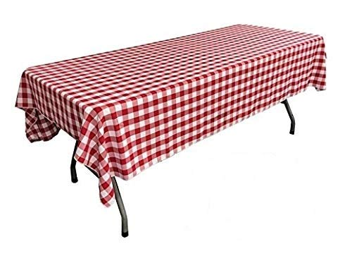 Pack of 6 Plastic Red and White Checkered Tablecloths - 6 Pack - Picnic Table Covers by -