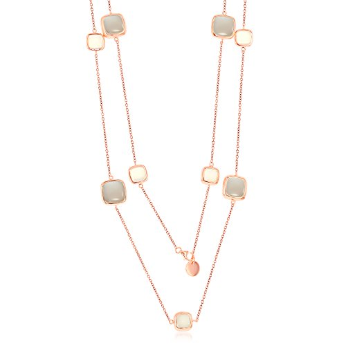 Sterling Silver Rose Tone Italian High Polish Alternating White & Grey Square Moonstone 36'' Station Necklace by Beaux Bijoux