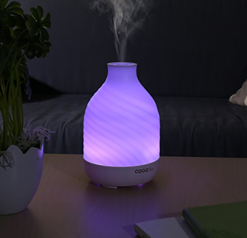1 Stop Water White Glass (Essential Oil Diffuser, CRDC Life 200ml Aroma Diffuser Auto Shut Off Whisper Quiet 7 Color LED Lights & 4 Time Setting)
