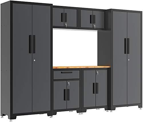 Torin Garage Workshop Tool Organizer Storage Cabinets: 7 Piece Set with Lockers, Shelves and Wood Worktop, - 7 Cabinet Garage Piece