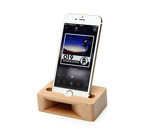 OHHOI Cell Phone Stand Holder Dock with Sound Amplifier Natural Stands, No Electricity