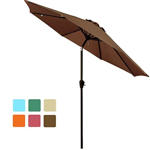 FARLAN Patio Umbrella 9 Ft Outdoor Table Aluminum offset market umbrellas with Push Button Tilt and Crank