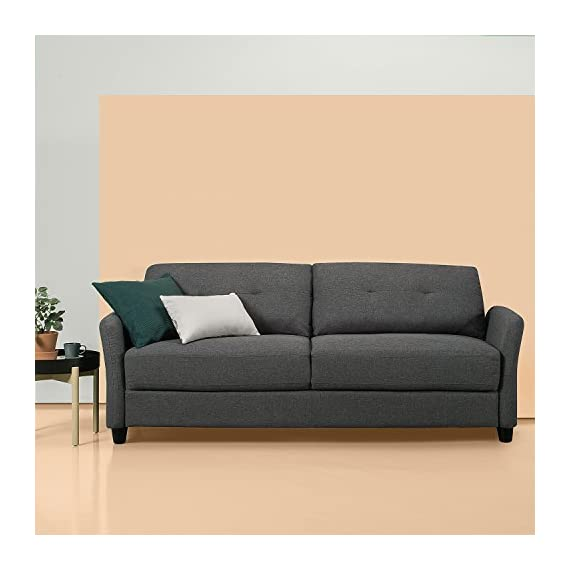 """ZINUS Ricardo Sofa Couch / Tufted Cushions / Easy, Tool-Free Assembly, Dark Grey - DIMENSIONS: 78.4 x 30.7 x 31.5 in 