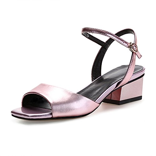 保持すると経験者WANGXIAOLIN ファッションオープントゥの女性の靴と厚いレザーヒールサンダル女性の夏の魚の口 ( 色 : シルバー しるば゜ , サイズ さいず : 35 )