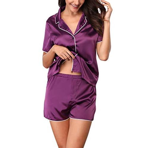 f7cd09f1a1 85%OFF Giorzio Damen Satin Schlafanzüge Sommer Nachtwäsche Kurz Pyjama Set  Zweiteiliger V-Ausschnitt