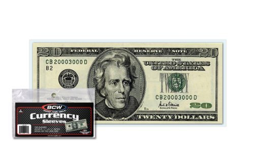 (500) US Currency Paper Money Bill Protector Sleeves for Regular Bills by BCW
