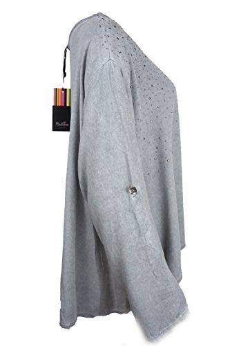 Bellina weites locker fallendes Shirt aus schönem Material, lichtgrau, 38-42
