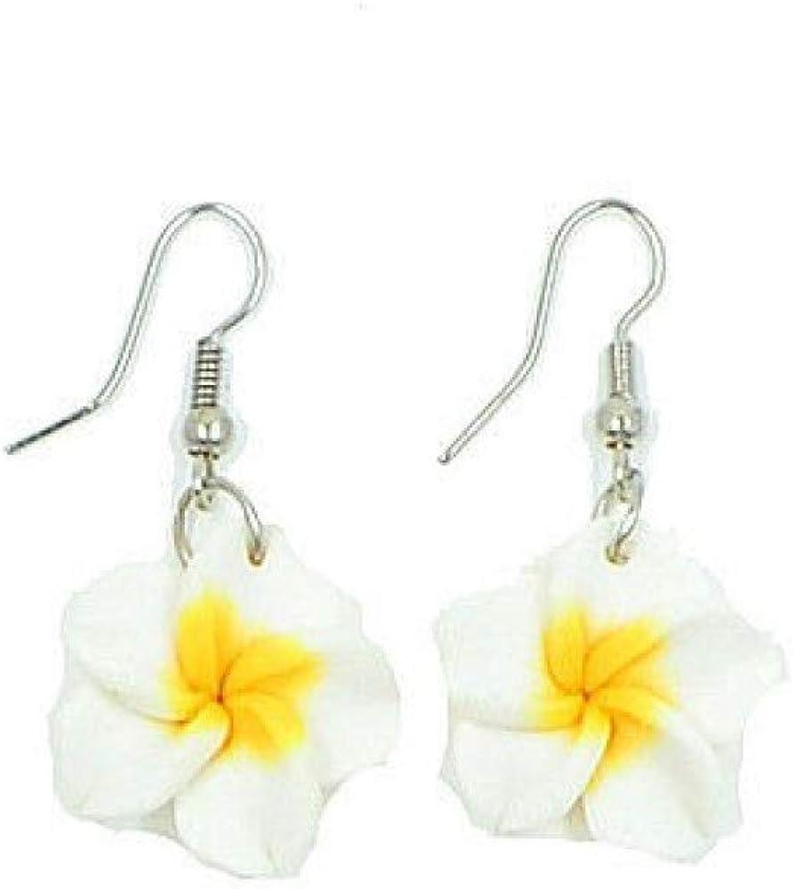 Boucles doreilles pendantes Fleur frangipanie hawa/ïenne tropicale blanche