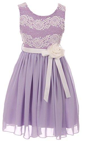 Big Girls' Sleeveless Floral Lace Chiffon Holiday Party Flower Girl Dress USA Lilac 14 (J21KS34)