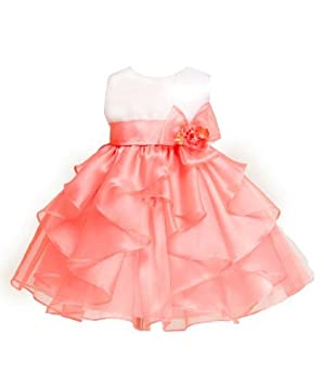 2e601c30b255 KID Collection Baby-girls White coral Birthday Party Dress Size L ...
