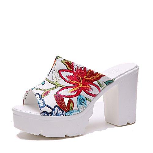 KPHY Hohe Schuhe Schuhe Mode Schuhe Mit Dicken Fisch Im Mund Unten Zehen 9Cm Harte Sohle Wasserdicht Kalt Ziehen Damenschuhe.