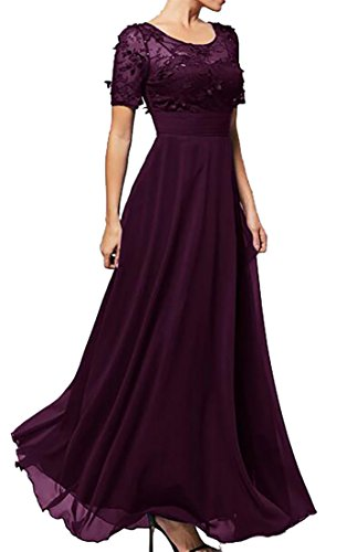 Patchwork Long Chiffon Women Lace Party Sleeve Maxi Short Purple Gown Dress BLTR ZzX7w4qxw
