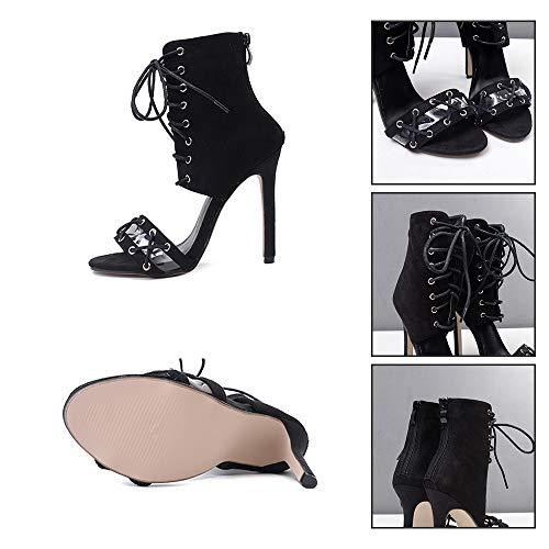 Smilinggirl Talons Lacets Femmes Hauts À Black Chaussures Sandales Pour Discothèque Sexy RqxgRnPw